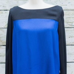 Joie Aliso Blue & Black Colorblock Top